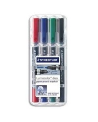 Staedtler étui 4 marqueurs permanents lumocolor duo 348 WP4