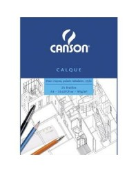 Canson bloc 25F papier calque A4 90G 200757203